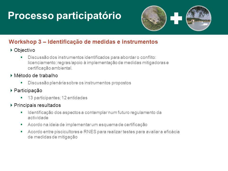 Workshop 3 – Identificação de medidas e instrumentos  Objectivo  Discussão dos instrumentos identificados para abordar o conflito: licenciamento; regras/apoio à implementação de medidas mitigadoras e certificação ambiental.