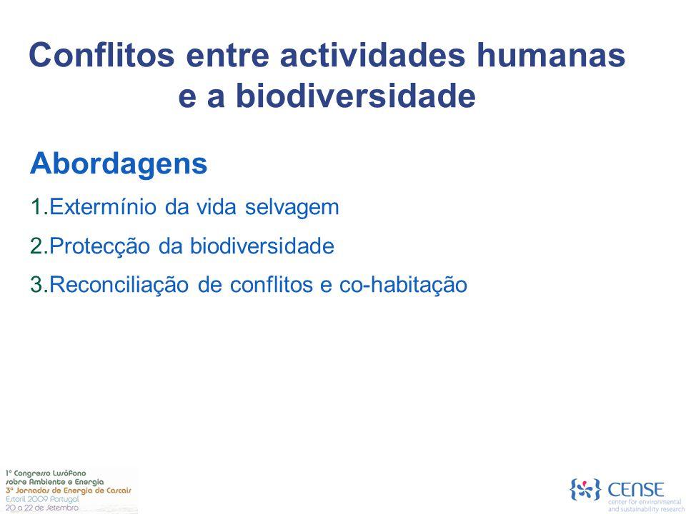 Environmental Policy Instruments Abordagens  Extermínio da vida selvagem  Protecção da biodiversidade  Reconciliação de conflitos e co-habitação