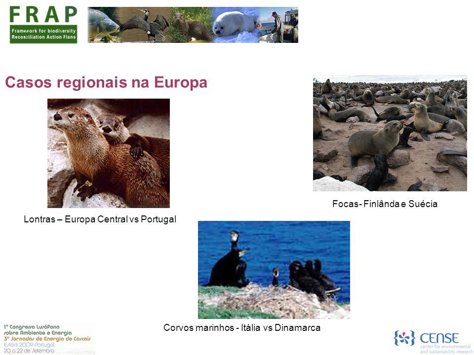 Casos regionais na Europa Lontras – Europa Central vs Portugal Focas- Finlânda e Suécia Corvos marinhos - Itália vs Dinamarca