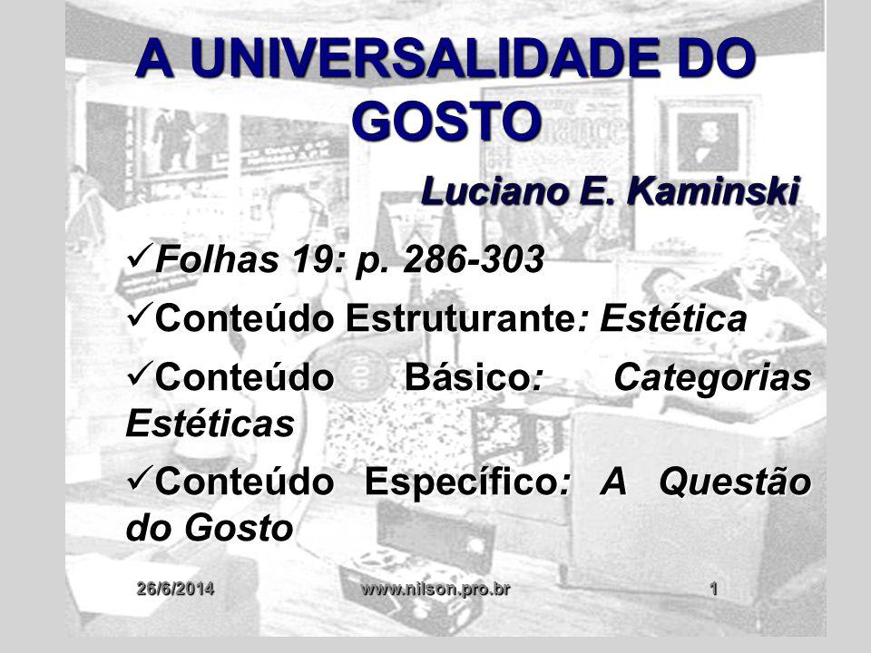 26/6/2014www.nilson.pro.br32 HUME: GOSTO É COISA DA SUA CABEÇA ✔ EXISTE UMA GRANDE VARIEDADE E DIFERENÇA DE GOSTOS E OPINIÕES, MESMO ENTRE INDIVÍDUOS DA MESMA CULTURA E QUE TIVERAM A MESMA EDUCAÇÃO ✔ NÃO SE PODE CONSIDERAR BELO APENAS AS PREFERÊNCIAS DE DETERMINADAS PESSOAS OU CULTURAS