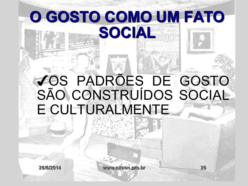 26/6/2014www.nilson.pro.br20 O GOSTO COMO UM FATO SOCIAL ✔ OS PADRÕES DE GOSTO SÃO CONSTRUÍDOS SOCIAL E CULTURALMENTE