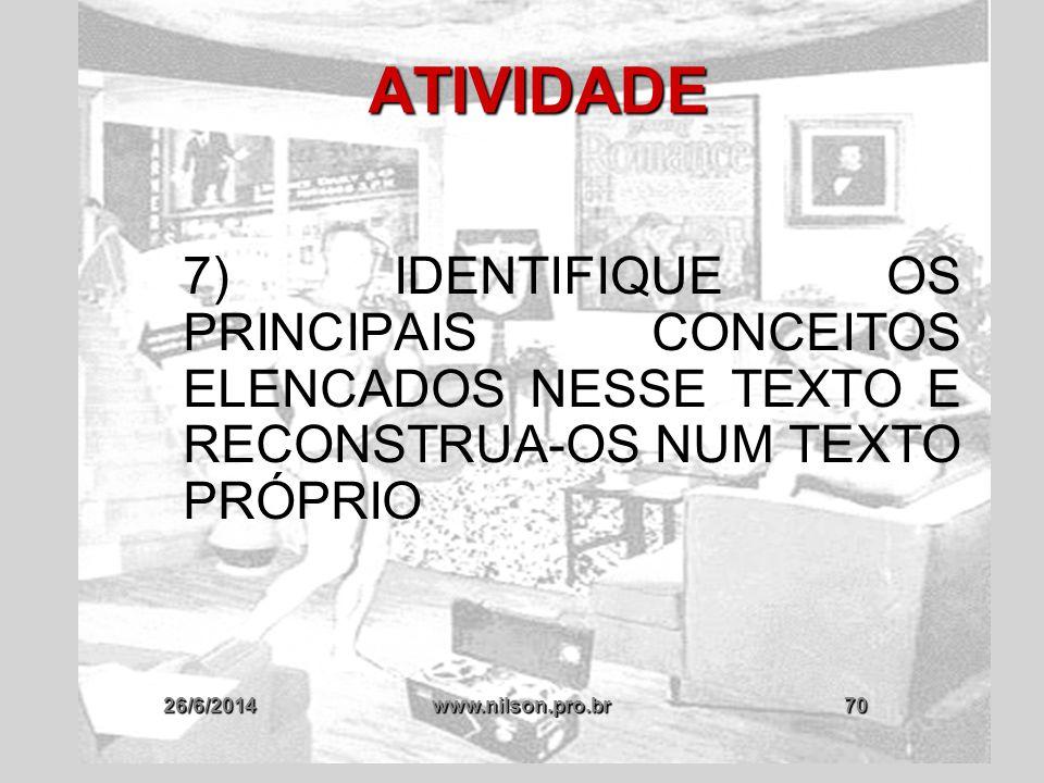 26/6/2014www.nilson.pro.br70 ATIVIDADE 7) IDENTIFIQUE OS PRINCIPAIS CONCEITOS ELENCADOS NESSE TEXTO E RECONSTRUA-OS NUM TEXTO PRÓPRIO
