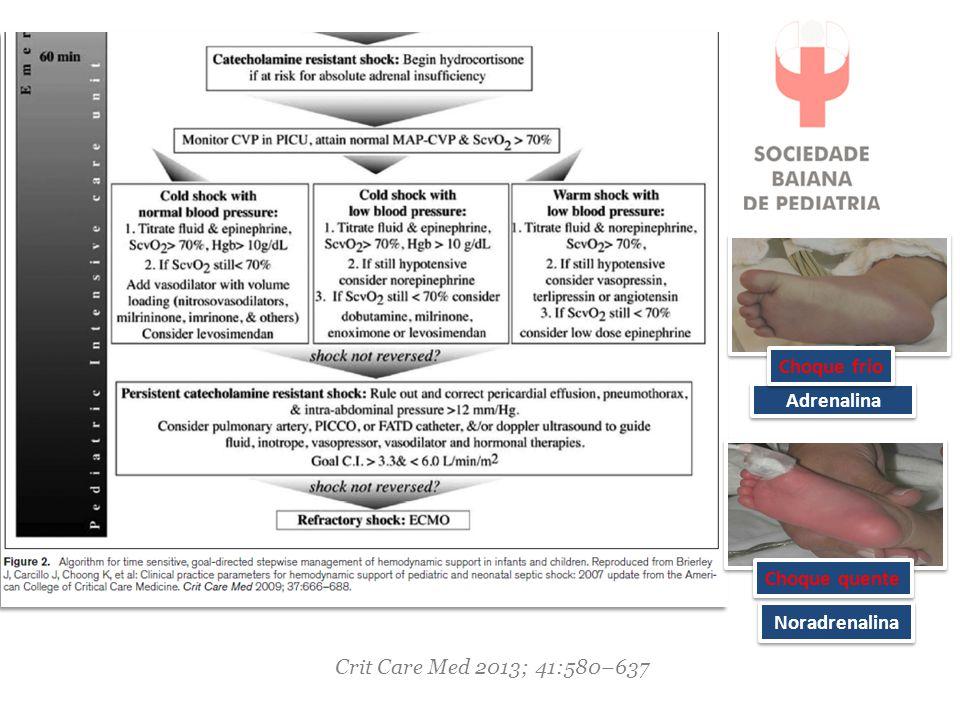 Adrenalina Choque frio Noradrenalina Choque quente Crit Care Med 2013; 41:580–637