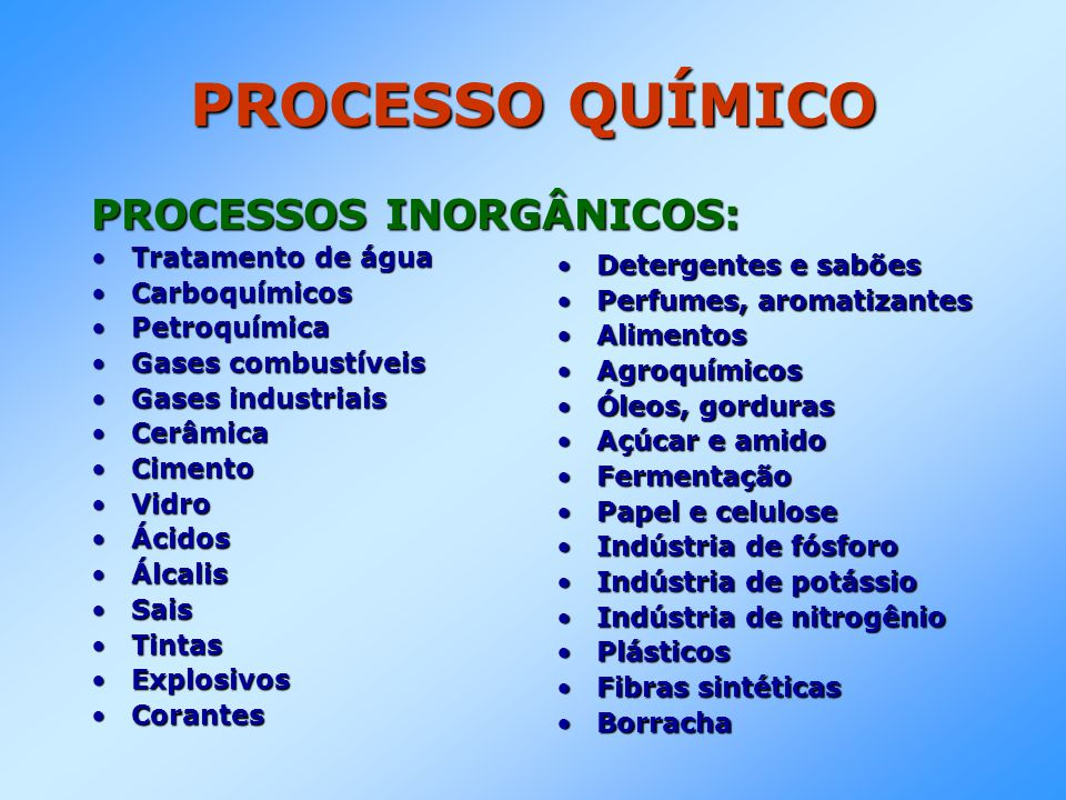 PROCESSO QUÍMICO PROCESSOS INORGÂNICOS: •Tratamento de água •Carboquímicos •Petroquímica •Gases combustíveis •Gases industriais •Cerâmica •Cimento •Vi