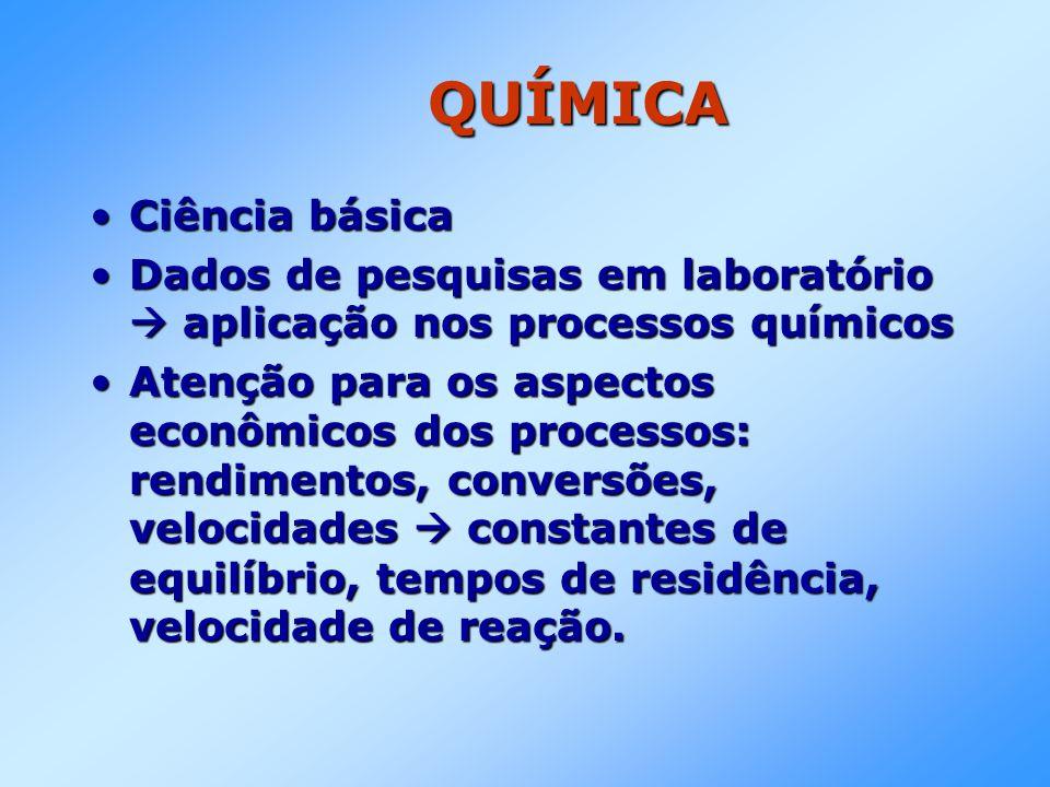 QUÍMICA •Ciência básica •Dados de pesquisas em laboratório  aplicação nos processos químicos •Atenção para os aspectos econômicos dos processos: rend