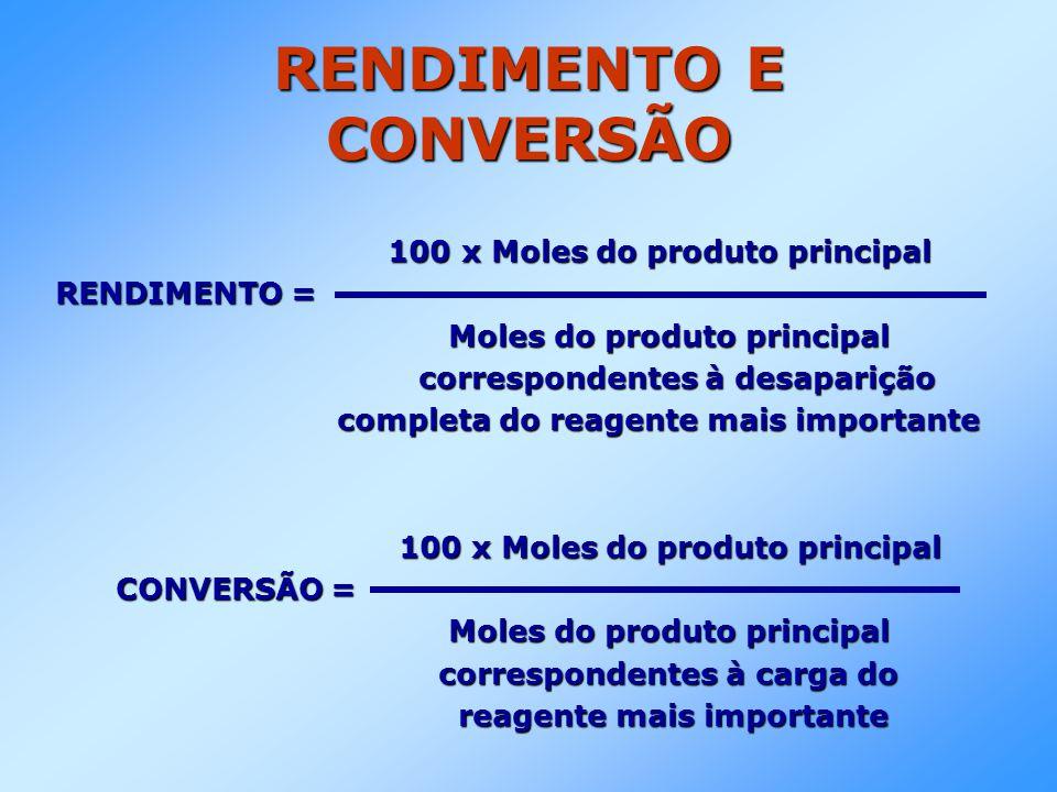 RENDIMENTO E CONVERSÃO 100 x Moles do produto principal 100 x Moles do produto principal RENDIMENTO = Moles do produto principal Moles do produto prin