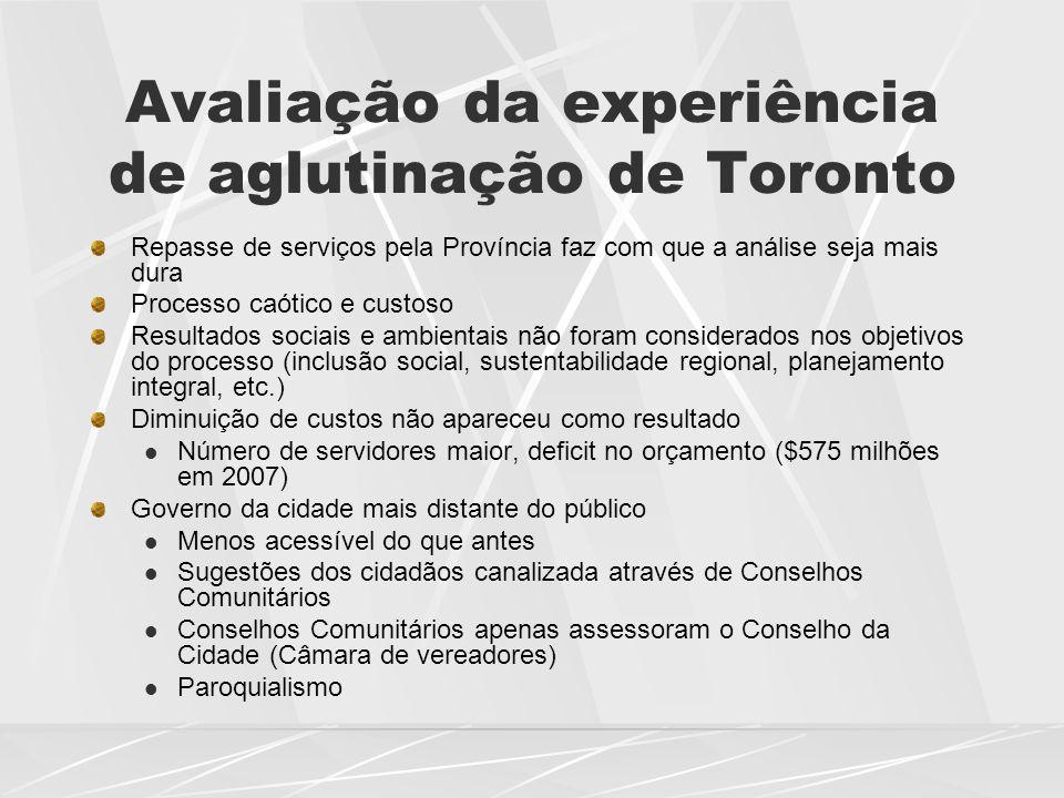 Avaliação da experiência de aglutinação de Toronto Repasse de serviços pela Província faz com que a análise seja mais dura Processo caótico e custoso