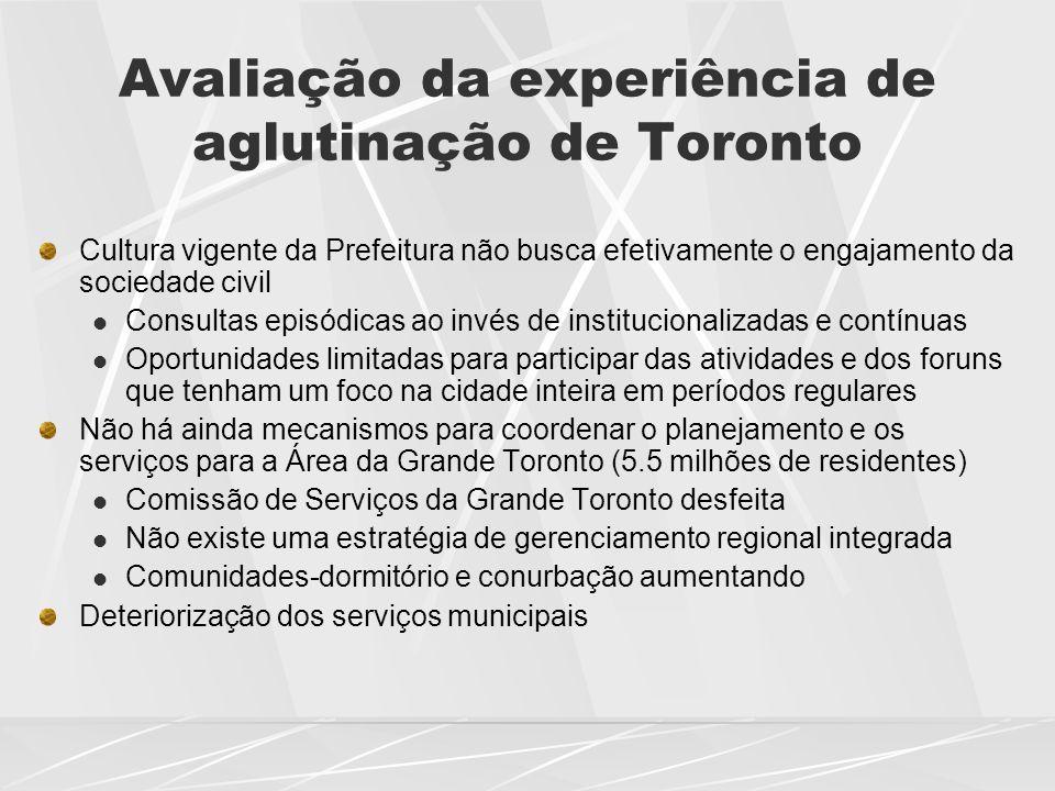 Avaliação da experiência de aglutinação de Toronto Cultura vigente da Prefeitura não busca efetivamente o engajamento da sociedade civil  Consultas e