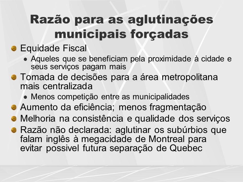 Razão para as aglutinações municipais forçadas Equidade Fiscal  Aqueles que se beneficiam pela proximidade à cidade e seus serviços pagam mais Tomada