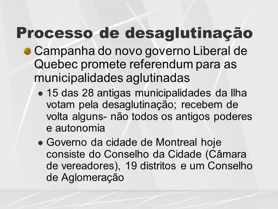 Processo de desaglutinação Campanha do novo governo Liberal de Quebec promete referendum para as municipalidades aglutinadas  15 das 28 antigas munic