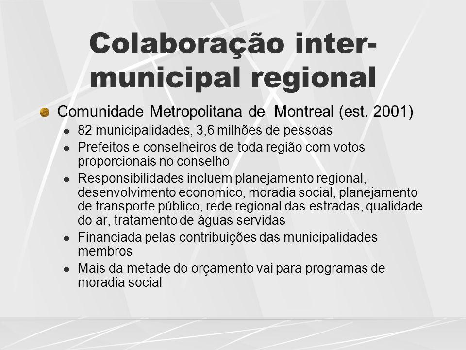 Colaboração inter- municipal regional Comunidade Metropolitana de Montreal (est. 2001)  82 municipalidades, 3,6 milhões de pessoas  Prefeitos e cons