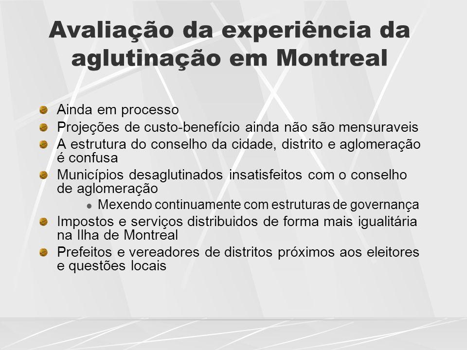 Avaliação da experiência da aglutinação em Montreal Ainda em processo Projeções de custo-benefício ainda não são mensuraveis A estrutura do conselho d