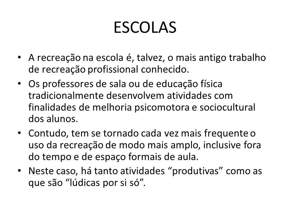 ESCOLAS • A recreação na escola é, talvez, o mais antigo trabalho de recreação profissional conhecido.