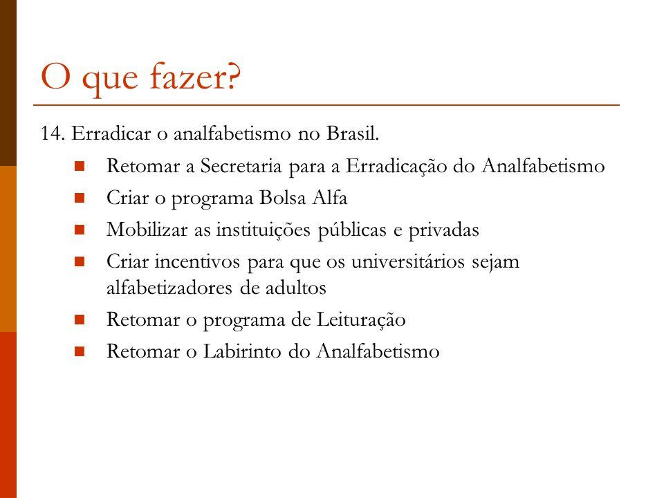 O que fazer.14. Erradicar o analfabetismo no Brasil.