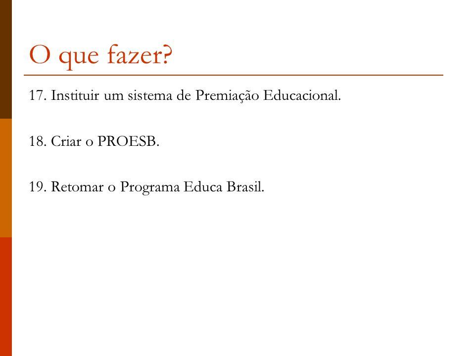O que fazer.17. Instituir um sistema de Premiação Educacional.