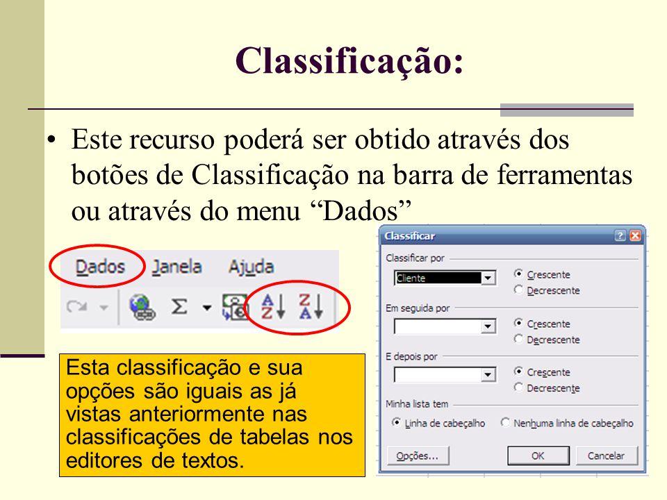AUTOFILTRO Menu->Dados->Filtro->AutoFiltro •Serve para selecionar e mostrar somente as linhas (registros) que atendem a um ou mais critérios escolhidos.