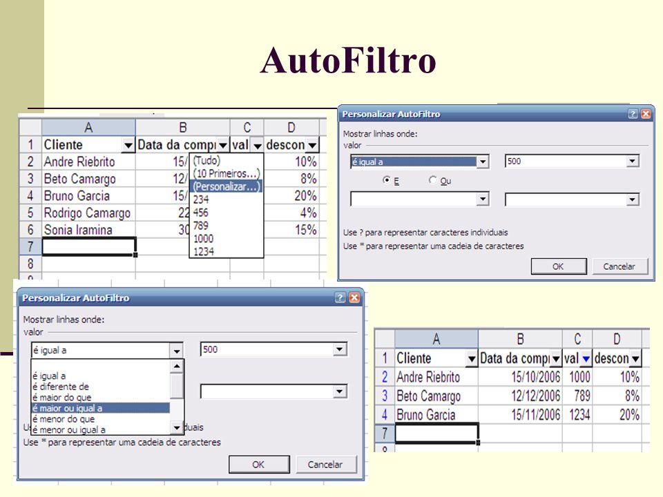 Usando o Formulário Menu->Dados->Formulário •Este recurso apresenta uma janela com opções de inclusão, exclusão e localização de registros de forma simples e pratica.
