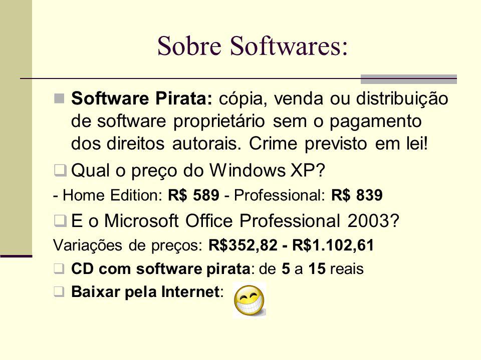 Software mínimo recomendado:  Sistema Operacional (SO):  Windows XP Home ou Profissional mas jamais o Started (proprietário)  Linux (Open Source)  Anti-vírus e Firewall: cuidado com as licenças e validades (não existe anti-vírus para Linux)  Office com no mínimo um editor de texto, planilha eletrônica e um editor de apresentação  Microsoft Office (proprietário) ou  OpenOffice da Sun (Open Source) Obs.:Todos os SO vem com algum navegador de Internet que geralmente são grátis como IE, Firefox, Opera, etc., mas existem outras diversas opções excelentes e grátis de navegadores.