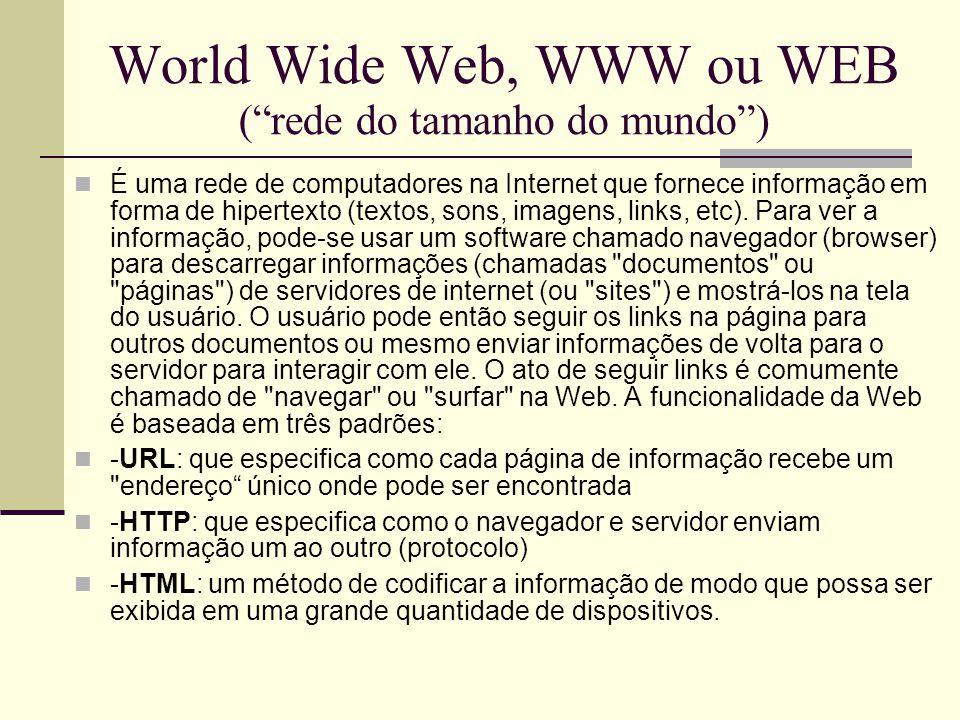 Exemplo de uma URL http://www.empresa.com.br  http:// (HyperText Transfer Protocol) Protocolo de transferência de Hipertexto, é o protocolo utilizado para transferências de páginas Web.