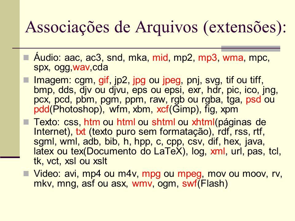 Associações de Arquivos de Aplicativos:  zip/rar/ace/arc/arj/bz2/bz/z/gz/tgz/lha/lzh/tar(arquivo compactado), xls(Microsoft Excel), ppt/ppz(Microsoft PowerPoint), doc(Microsoft Word), pdf(Documento PDF), ps(Arquivo PostScript), odc/odg/sda(Gráfico OpenOffice), odf(Fórmula do OpenOffice), odp/sdd/sxi/sti(Apresentação do OpenOffice), ods/ots/sdc/sds/sxc/stc(planilha do OpenOffice), odt/ott/sdw/sxw/stw/wpd(editor de texto do OpenOffice), pdb/prc (Documento do Palm), odb(Banco de Dados do OpenOffice), exe(executável do Windows), cue/iso(CD imagem), dbf(documento dBASE), deb(pacote Debian), ttc/ttf(fontes TrueType), icq, jar/class(Java), js(JavaScript), sh/csh(Shell), mdb(Microsoft Access), php, py(Python), rpm(Pacote RPM), bak(backup), cdr(Corel)