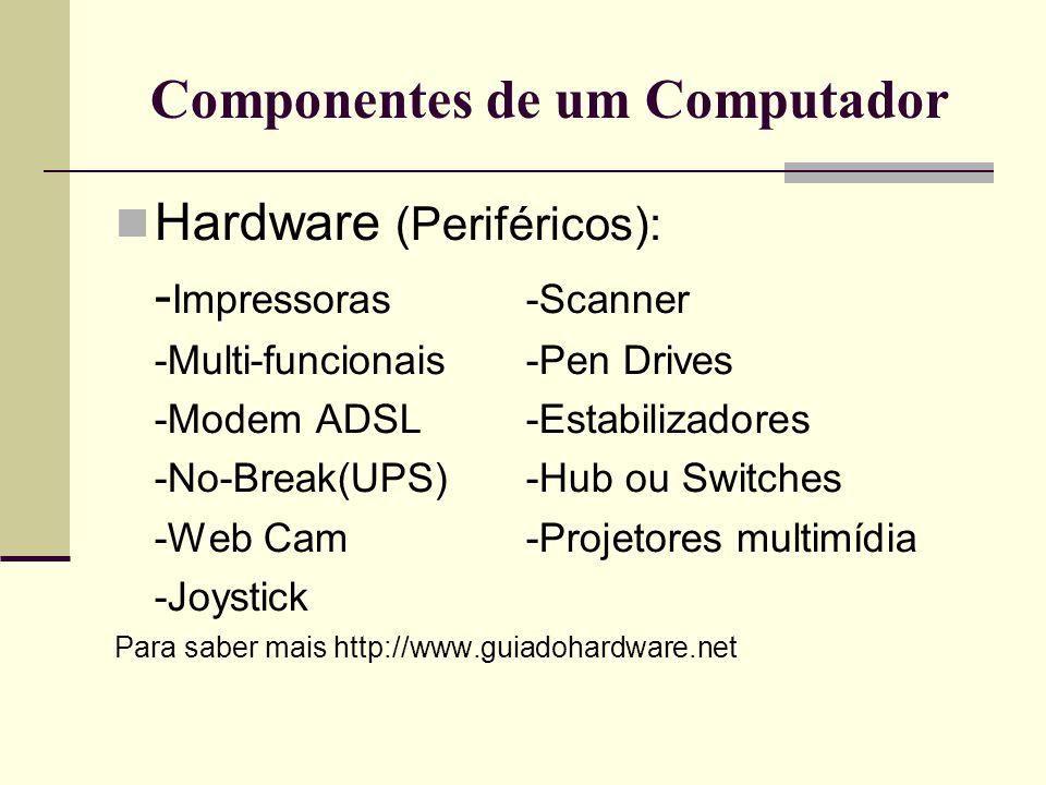 Componentes de um Computador  Software (parte lógica): -Sistema operacional (OS) -Editores de texto -Planilhas de calculo -Editores de fotos -Reprodutores de filmes e musicas -Navegadores de Internet (Browser) -Jogos -Vírus, Spam, Spy wares e Ad wares