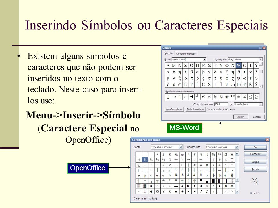 Formatando Caracteres Modificação da aparência dos caracteres do texto Menu->Formatar->Fonte (Caractere no OpenOffice) efeitos •Pode-se alterar o tipo, cores, estilos, tamanho, ou efeitos e controlar o espaçamento dos caracteres.