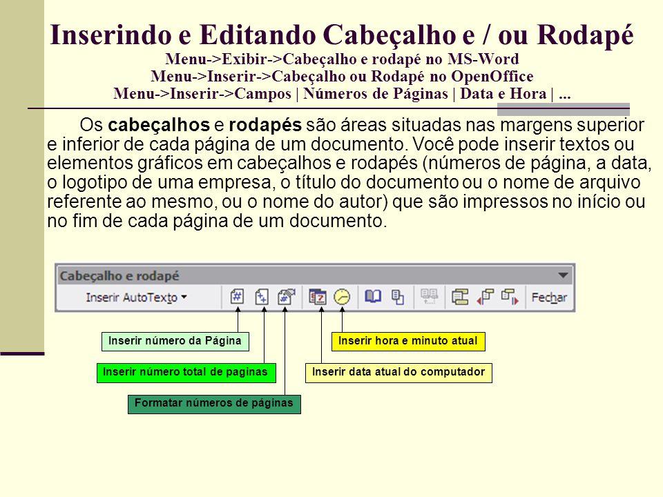 Inserindo Quebras de Páginas Menu->Inserir->Quebra Manual Quando você preenche uma página com texto ou elementos gráficos, o editor de textos insere uma quebra de página automática e inicia uma nova página.