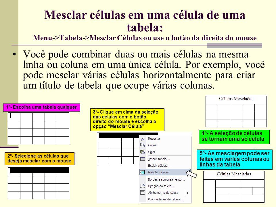 Outras Operações com Células e Tabelas Divisão de Células Do mesmo jeito que se pode mesclar células, pode-se também dividi-las em várias partes ou excluí- las da tabela Células excluídas Nas propriedades da tabela podemos definir alinhamentos, quebras de texto, core das células e muitas outras características da tabela Célula dividida em duas colunas Célula dividida em três colunas Célula dividida em duas linhas Menu->Tabela -> Propriedades da Tabela ou botão direito do mouse em cima da tabela