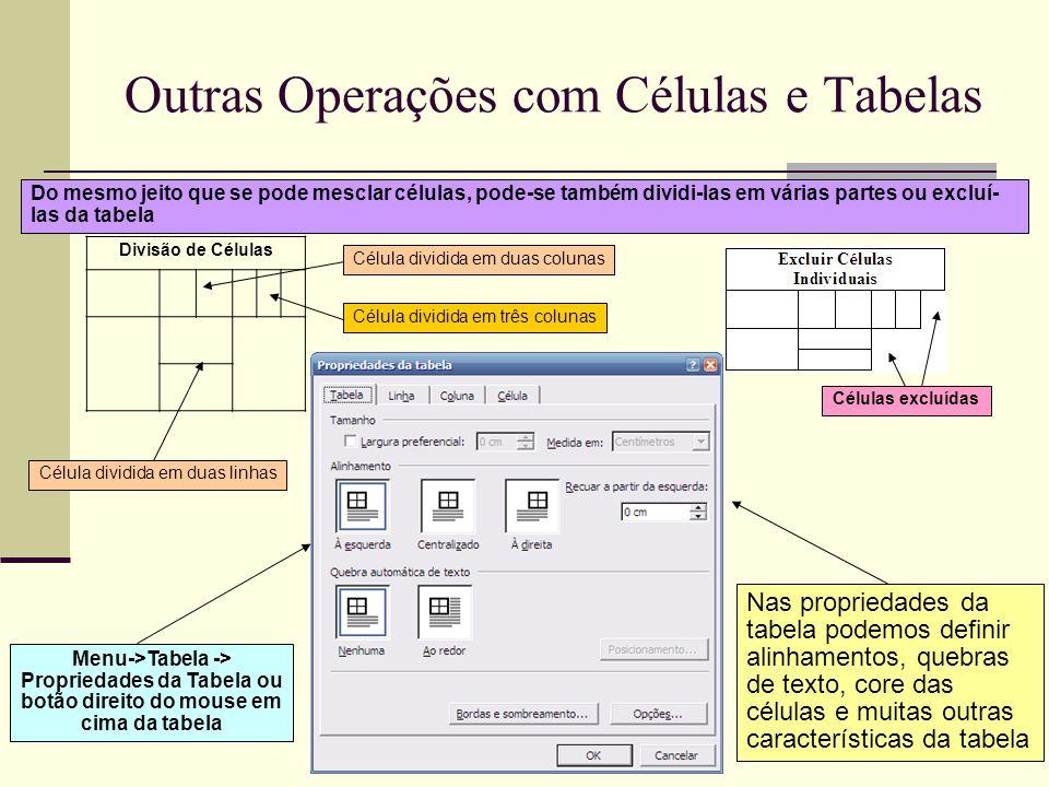 Outras Operações com Células e Tabelas A opção de AutoAjuste-> AutoAjustar para conteúdo , faz com que o editor de texto tente ajustar as dimensões das colunas da tabela de acordo com o texto digitado nas mesmas.