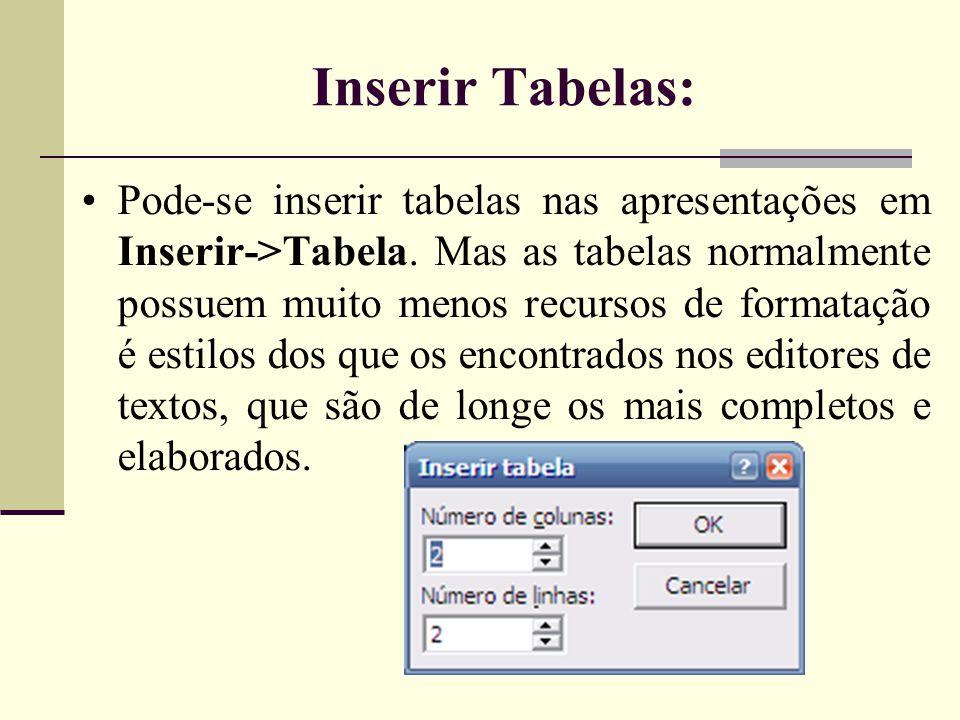 Sobre Layout dos Slides Formatar->Layout do Slide •O layout é a maneira como os itens são organizados em um slide.