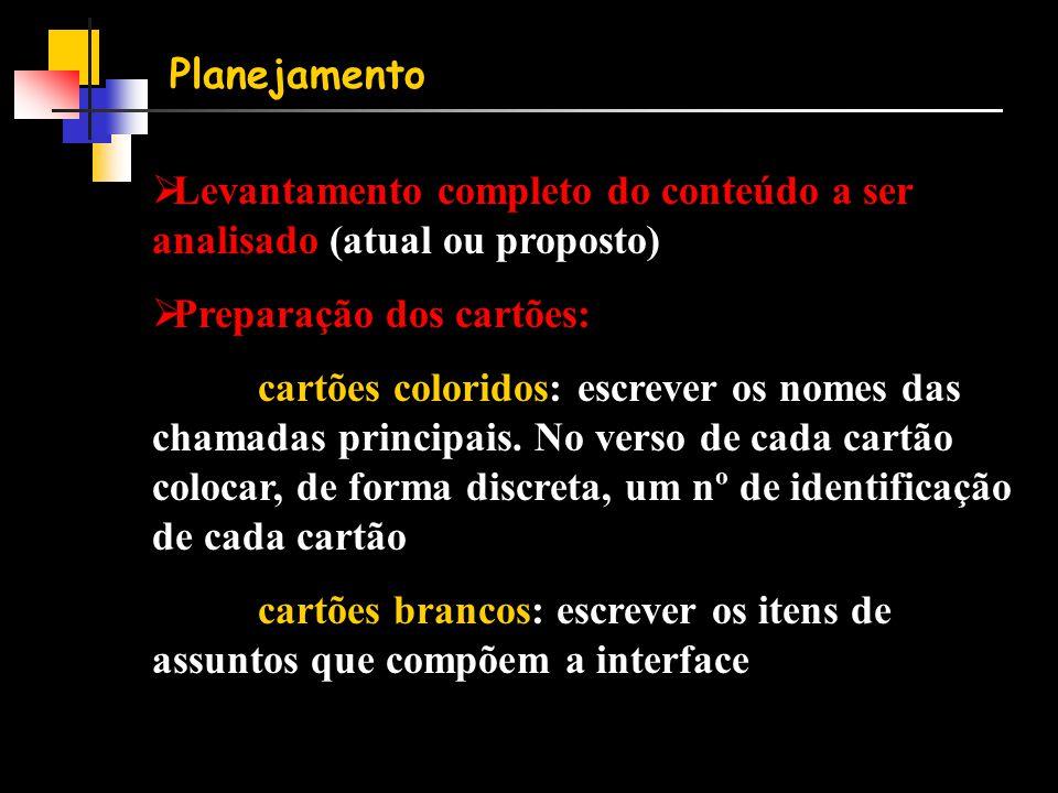 Planejamento  Levantamento completo do conteúdo a ser analisado (atual ou proposto)  Preparação dos cartões: cartões coloridos: escrever os nomes das chamadas principais.