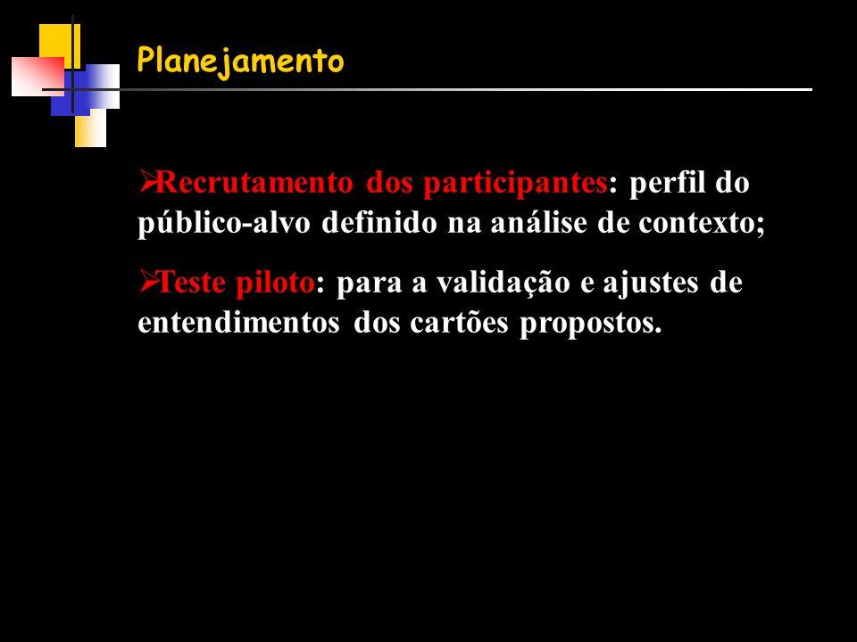 Planejamento  Recrutamento dos participantes: perfil do público-alvo definido na análise de contexto;  Teste piloto: para a validação e ajustes de entendimentos dos cartões propostos.