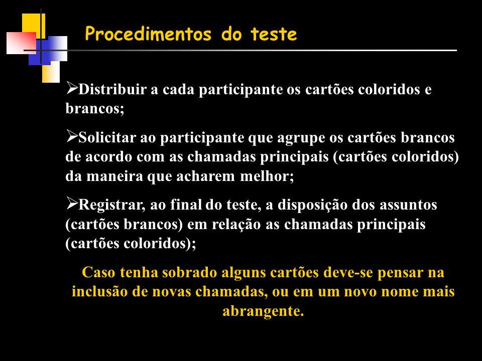 Procedimentos do teste  Distribuir a cada participante os cartões coloridos e brancos;  Solicitar ao participante que agrupe os cartões brancos de a