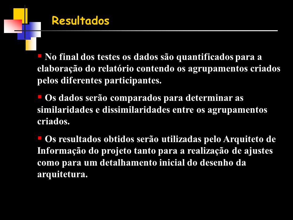 Resultados  No final dos testes os dados são quantificados para a elaboração do relatório contendo os agrupamentos criados pelos diferentes participantes.
