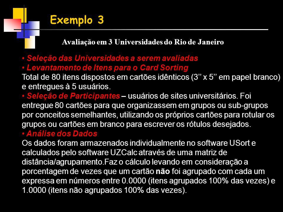 Exemplo 3 Avaliação em 3 Universidades do Rio de Janeiro • Seleção das Universidades a serem avaliadas • Levantamento de Itens para o Card Sorting Total de 80 itens dispostos em cartões idênticos (3'' x 5'' em papel branco) e entregues à 5 usuários.