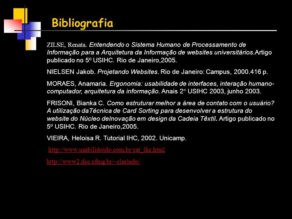 Bibliografia ZILSE, Renata. Entendendo o Sistema Humano de Processamento de Informação para a Arquitetura da Informação de websites universitários.Art