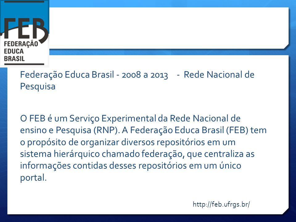 Federação Educa Brasil - 2008 a 2013 - Rede Nacional de Pesquisa O FEB é um Serviço Experimental da Rede Nacional de ensino e Pesquisa (RNP).
