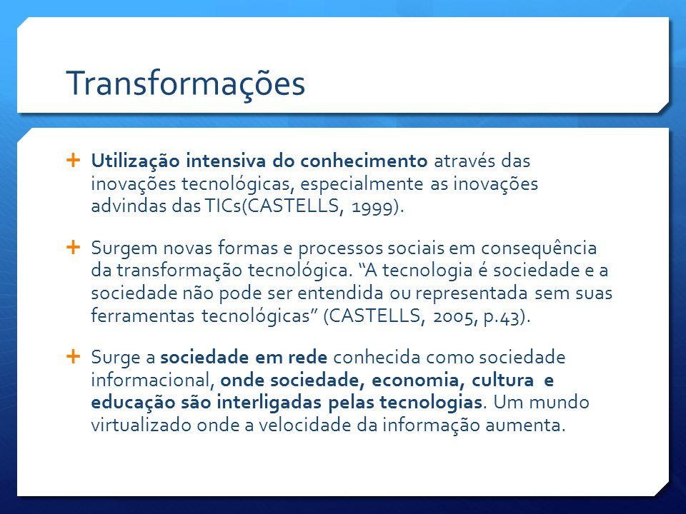 Transformações  Utilização intensiva do conhecimento através das inovações tecnológicas, especialmente as inovações advindas das TICs(CASTELLS, 1999).
