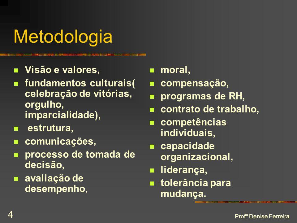 Profª Denise Ferreira 4 Metodologia  Visão e valores,  fundamentos culturais( celebração de vitórias, orgulho, imparcialidade),  estrutura,  comun