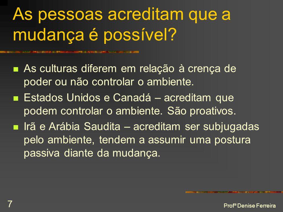 Profª Denise Ferreira 7 As pessoas acreditam que a mudança é possível?  As culturas diferem em relação à crença de poder ou não controlar o ambiente.