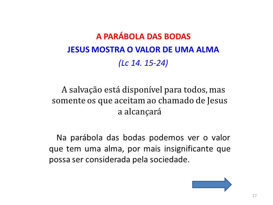 A PARÁBOLA DAS BODAS JESUS MOSTRA O VALOR DE UMA ALMA (Lc 14. 15-24) A salvação está disponível para todos, mas somente os que aceitam ao chamado de J