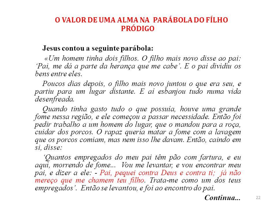 O VALOR DE UMA ALMA NA PARÁBOLA DO FÍLHO PRÓDIGO Jesus contou a seguinte parábola: «Um homem tinha dois filhos. O filho mais novo disse ao pai: 'Pai,