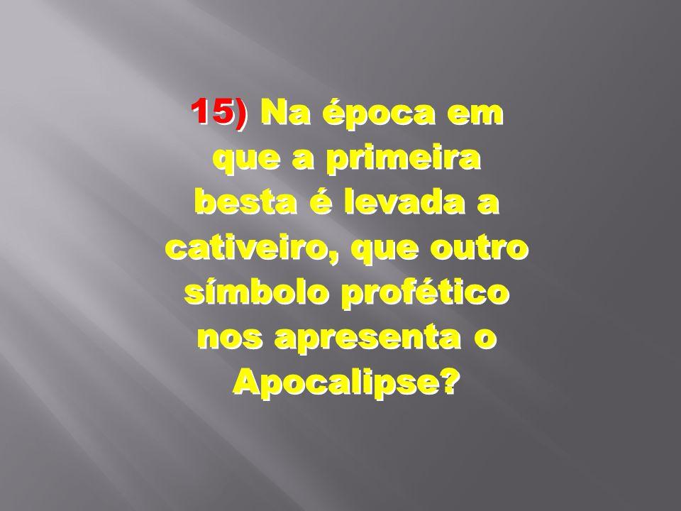15) Na época em que a primeira besta é levada a cativeiro, que outro símbolo profético nos apresenta o Apocalipse?
