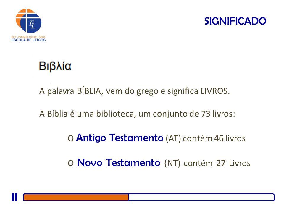 SIGNIFICADO A palavra BÍBLIA, vem do grego e significa LIVROS. A Bíblia é uma biblioteca, um conjunto de 73 livros: O Antigo Testamento (AT) contém 46
