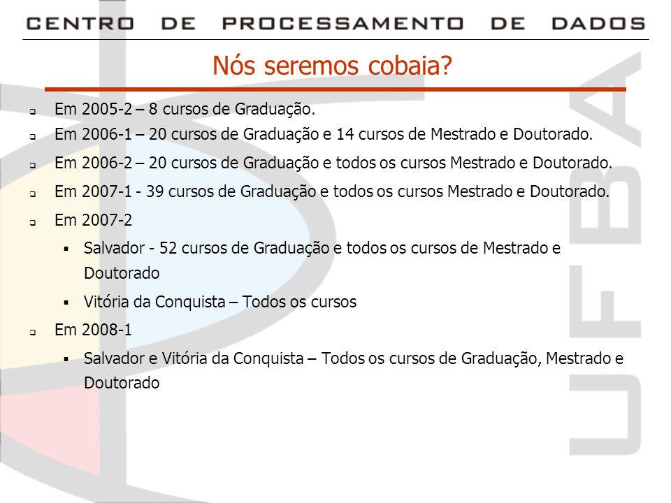 Nós seremos cobaia.  Em 2005-2 – 8 cursos de Graduação.