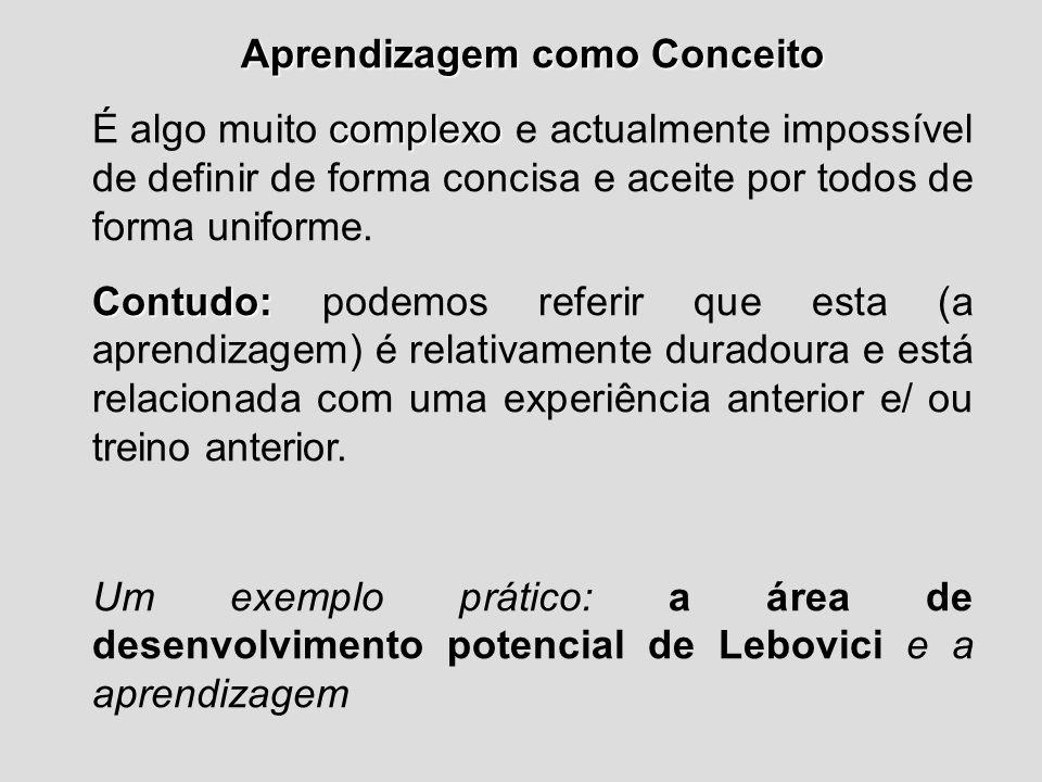 Aprendizagem como Conceito complexo É algo muito complexo e actualmente impossível de definir de forma concisa e aceite por todos de forma uniforme. C