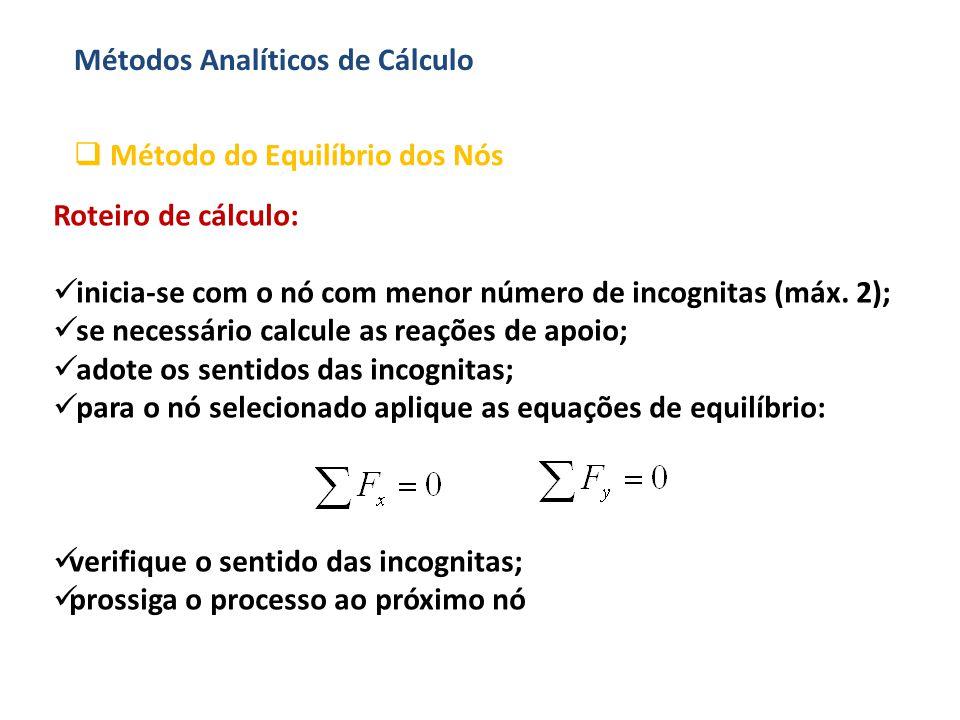 Métodos Analíticos de Cálculo  Método do Equilíbrio dos Nós Roteiro de cálculo:  inicia-se com o nó com menor número de incognitas (máx. 2);  se ne