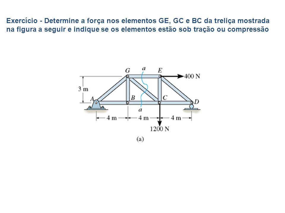 Exercício - Determine a força nos elementos GE, GC e BC da treliça mostrada na figura a seguir e indique se os elementos estão sob tração ou compressã