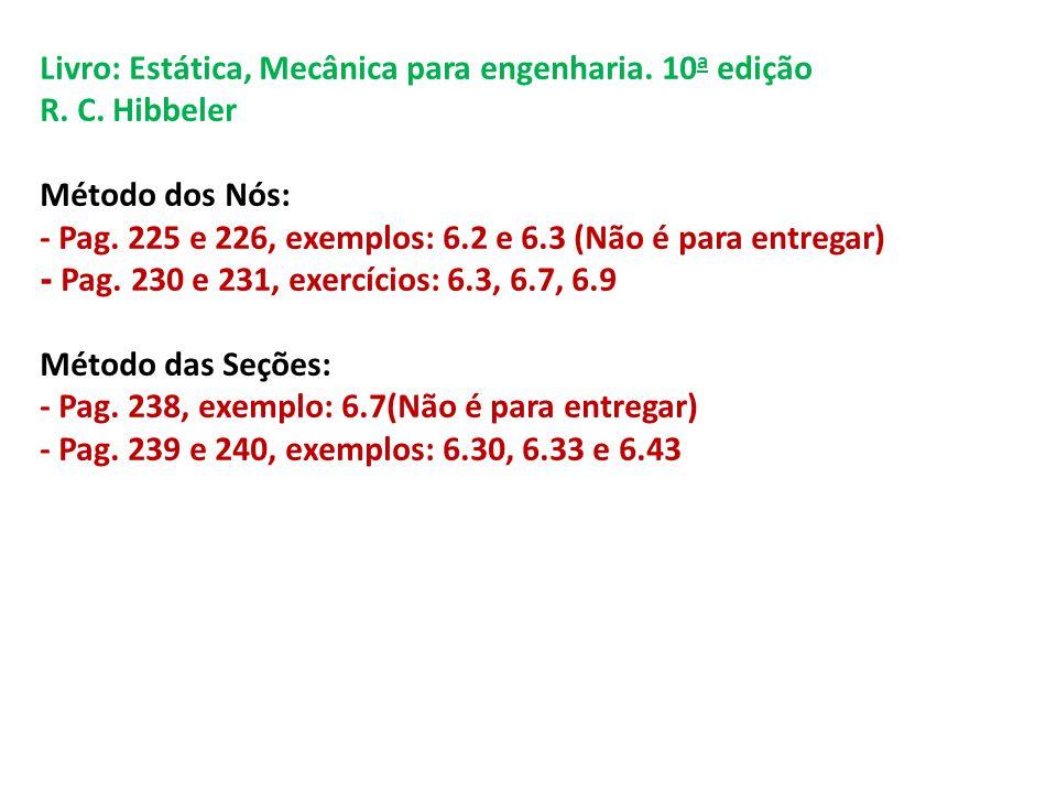 Livro: Estática, Mecânica para engenharia. 10 a edição R. C. Hibbeler Método dos Nós: - Pag. 225 e 226, exemplos: 6.2 e 6.3 (Não é para entregar) - Pa