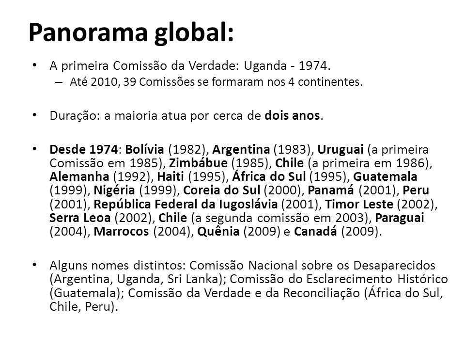 Panorama global: • A primeira Comissão da Verdade: Uganda - 1974. – Até 2010, 39 Comissões se formaram nos 4 continentes. • Duração: a maioria atua po